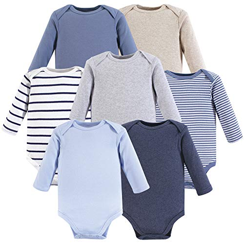 Hudson Baby Unisex Baby Cotton Long-sleeve Bodysuits, Boy Basic, 6-9 Months