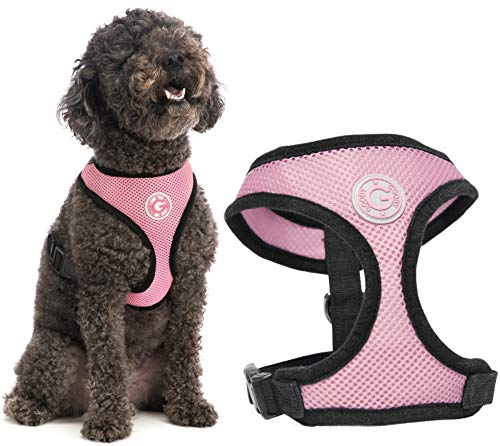 Gooby Dog Harness - Pink, Large - Soft Mesh Head-in Small Dog Harness with Breathable Mesh - Perfect on The Go Mesh Harness for Small Dogs or Cat Harness for Indoor and Outdoor Use