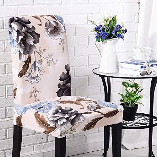 WNTHBJ Funda para silla de boda o comedor, fundas de sillas florales, elásticas, sillones para exteriores, respaldo alto, protector para banquetes, decoración lavable (10 unidades, gris), beige, 4 pcs