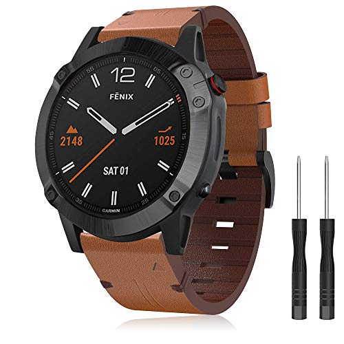 Pulseira de couro Songsier compatível com a banda Fenix 6X/5X Plus, pulseira de couro premium de 26 mm para relógio de substituição Garmin Fenix 6X/6X Pro/5X/5X Plus/3/3 HR/Descent Mk1 Smartwatch