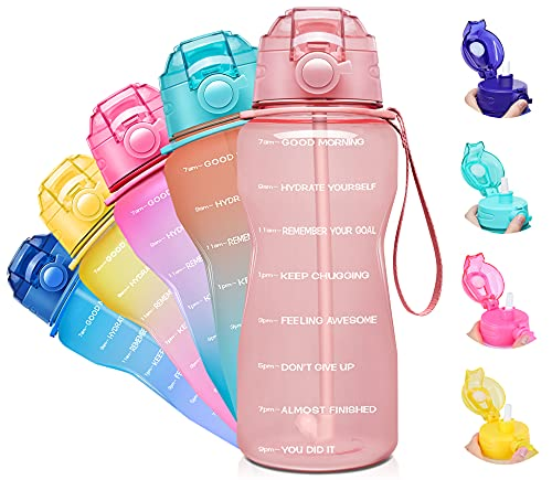 Giotto Large Half Gallon/64oz Motivational Water Bottle with Time Marker & Straw,Leakproof Tritan BPA Free Water Jug,Ensure You Drink Enough Water Daily for Fitness,Gym and Outdoor-Light Pink