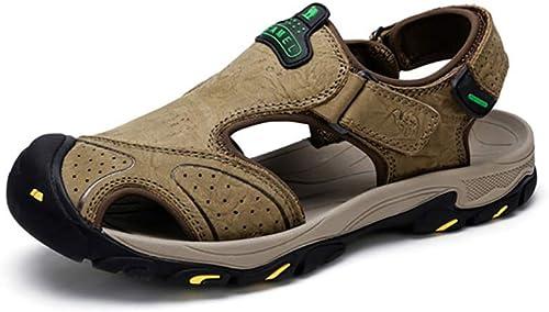 LQ Sandales pour Hommes Sandales pour Hommes Camel Anti-Collision, Chaussures Chaussures de Plage antidérapantes avec absorbeur de Chocs dans Le Fond MD, Chaussures d'extérieur en Cuir avec Velcro en Cuir  première réponse