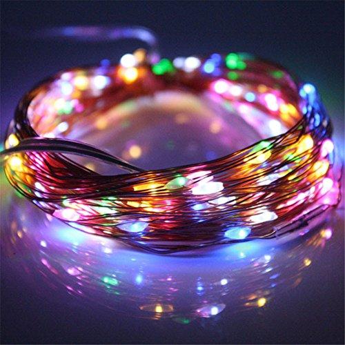Lianshi Guirlande lumineuse à énergie solaire avec 50 LED en fil de cuivre pour décoration de Noël