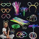Sinwind Barras Luminosas, Pack de 330 Pulseras Fluorescentes Glow Pack Multicolor, Pulseras Luminosas con Conectores, Carnaval Festividad Fiestas Barras Luminosas