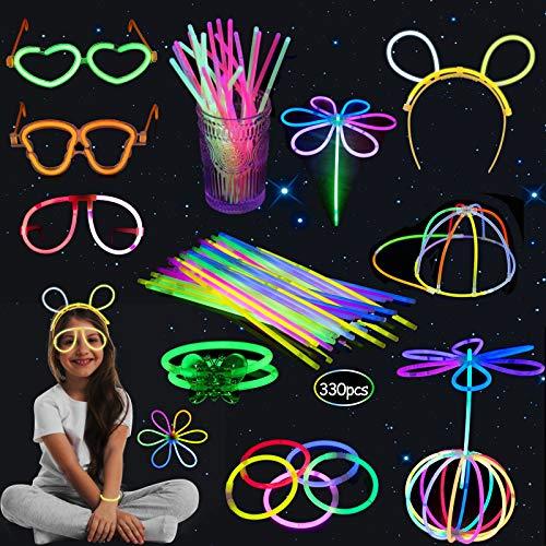 Sinwind Knicklichter Party Set, 330 Stück Farbmix Knicklichter Leuchten, Partylichter Schmetterlinge, Brillen, Ketten, Haarreifen, Leuchtball, Leuchtstäbe mit Verschiedenen für Party, Festival