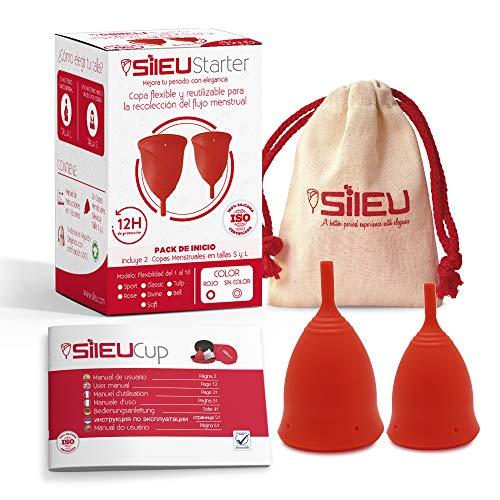 Copa Menstrual Sileu Cup Tulip - Alternativa ecológica y natural a tampones y compresas - Las mejores opiniones de nuestros clientes, recomendada por ginecólogos - Talla S + L, Rojo