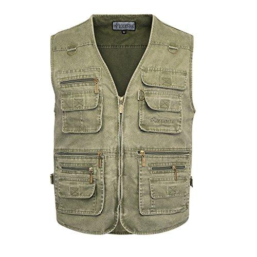 Belloo Herren Outdoor Sport Weste mit 16 Taschen, Farbe Grün, Gr. 4XL(EU: 2XL)