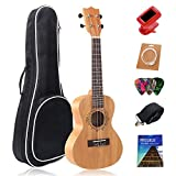 Soprano Ukulele Beginner 21 Inch,Starter Small Hawaiian Guitar African Mahogany Aquila Strings Ukeleles Starter Set for Kids/Adults,With Gig Bag,Strap,1 Set Nylon String,Electric Tuner,3 Picks
