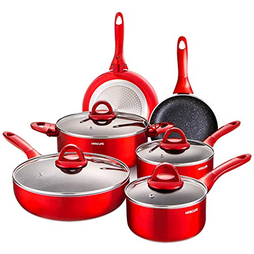 Cookware Set 10 Pieces Nonstick Pots and Pans, Chemical-Free Kitchen Sets with Stay-Cool Handle, Induction Saucepan, Frying Pan, Stock Pot, Skillet, Red