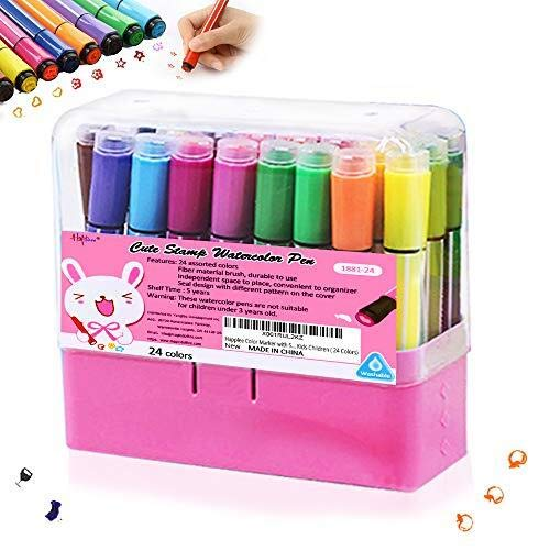 Happlee Coloring Markers - 24 Colors Washable Markers for Kids, Watercolor Markers with Stamp for Coloring Book, Drawing