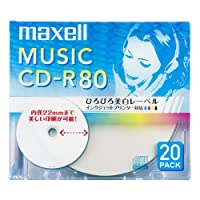 maxell 音楽用 CD-R 80分 インクジェットプリンタ対応ホワイト(ワイド印刷) 20枚 5mmケース入 CDRA80WP.20S