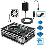 Miuzei Raspberry Pi 3 B+ Case with Fan Cooling and 3× Heat-Sinks, 5V 2.5A Power Supply with On/Off Switch Cable for RPi...