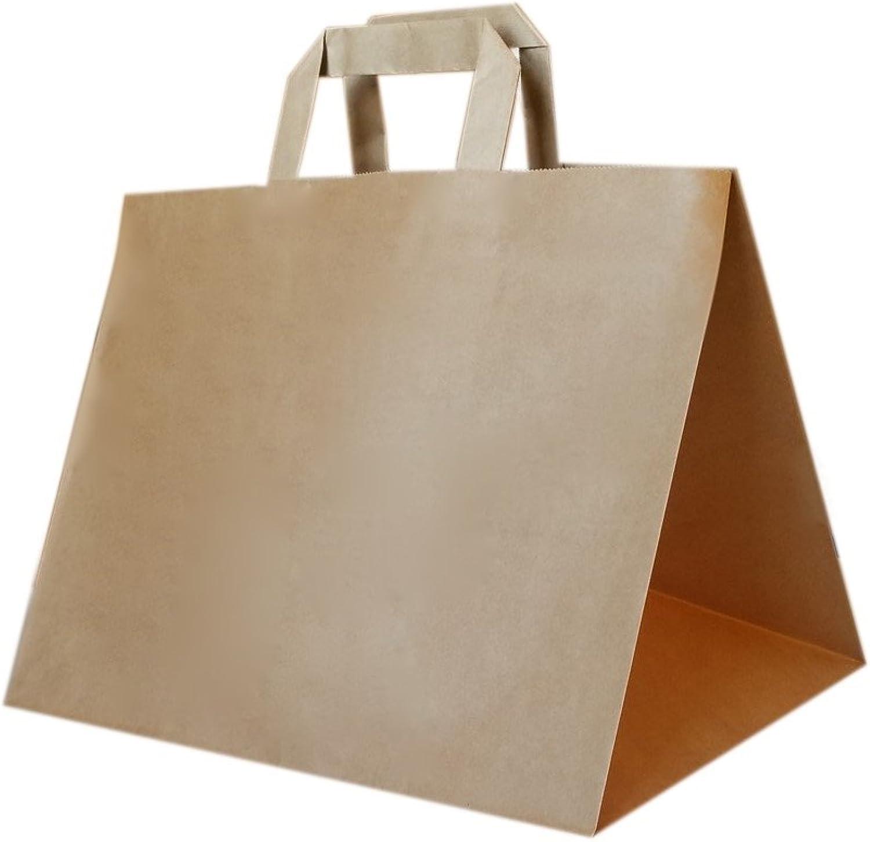 250 Stück Papiertragetasche     Kuchentragetasche in braun 3221x24 cm - good4food B01N6H6RDG | Elegantes Aussehen  463b55