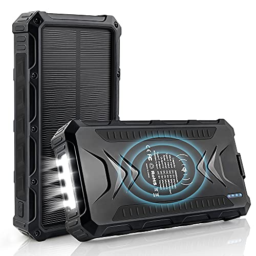 DJROLL Cargador Solar Portátil con 36000mAh, Banco de energía Solar, Solar Carga Rápida 3 Puertos de Salida con LED Linterna USB Cargador Rápido de Teléfono Celular para Viajes, Camping (Black)