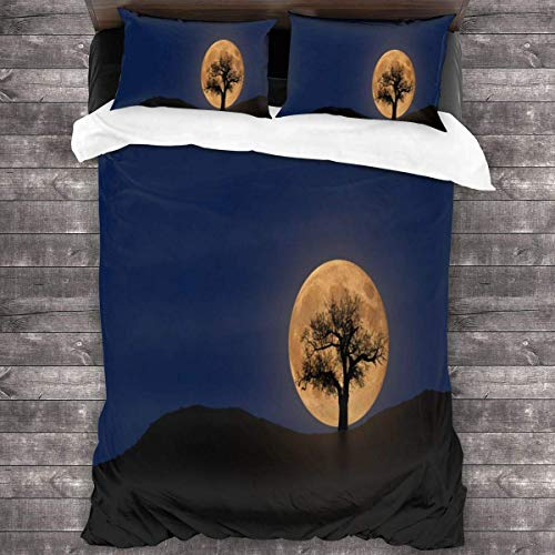 KDRW Moon and Tree Night 3 Pieces Bedding Set Ultra Soft 3 Pieces Bedspread Coverlet Set Skin-Friendly Bedspread Coverlet Set Thermal Comforter Sheet Set 86'' x70