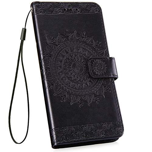 Ysimee kompatibel mit Samsung Galaxy S10 Hülle Handy Schutzhülle [Pu Leder] [Standfunktion] [Kartenfach] [Magnetverschluss] Schlanke Leder Brieftasche Flip Case Protective Tasche, Totem- Schwarz