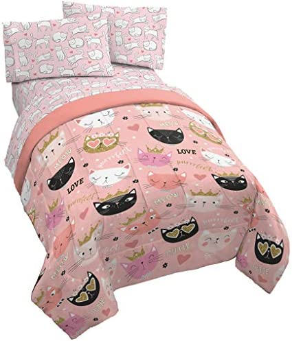 Jay Franco Purrrfect 4 Piece Twin Bed Set Includes Comforter Sheet Set Bedding Features Cats product image