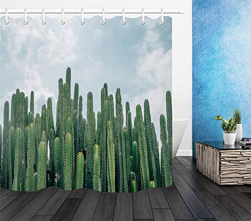 ZZZdz Cactus onder de zon. Gordijn. Douchegordijn. Accessoires voor de badkamer. 180 x 180 cm. 3D Hd Afdrukken. Waterdicht. Niet vervagen.