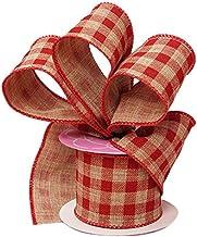 Red Gingham Ribbon Wired Burlap - 2 1/2 Inch x 10 Yards, Christmas, Birthday, Wedding Decor