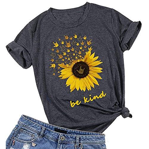 Seien Sie freundliche Sonnenblume T-Shirt Frauen Nette lustige Grafik Tee Teen Girls Casual Kurzarm Shirt Tops