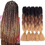 Synthetic Braiding Hair Extensions Kanekalon Hair Ombre Twist Braiding Hair High Temperature Hair Extensions 5Pcs/Lot 24'(Black-dark brown-light brown)