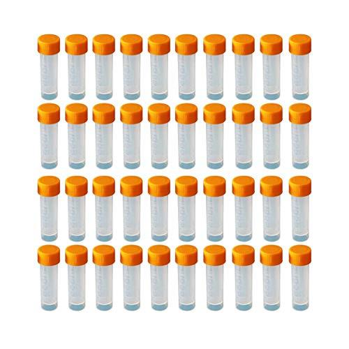 HUAYAO Lot de 40 Tubes à Essai Gradués 5ml, Cryotubes En Plastique Tubes, Tube de Fiole Congelé en Plastique avec Bouchon à Vis, Flacon Transparent