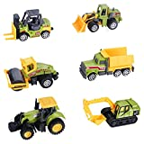 Mini Construction Trucks Toys, Small Construction Toys 6Pcs Diecast Construction Vehicles Metal Tractor Toys Sand Cargo Vehicle Playset Forklift Roller Dump Truck Tractor Excavator Bulldozer