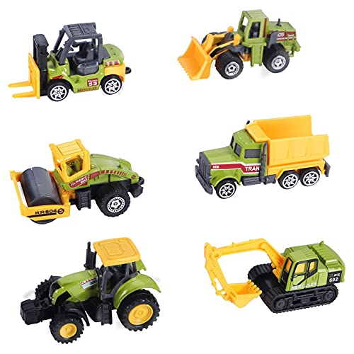 Mini Construction Trucks Toys  Small Construction Toys 6Pcs Diecast Construction Vehicles Metal Tractor Toys Sand Cargo Vehicle Playset Forklift Roller Dump Truck Tractor Excavator Bulldozer