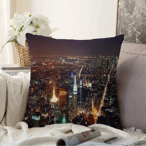 N\A Fundas Decorativas para Cojines Funda de cojín Apartamento Skyline Ciudad de Nueva York Vista aérea financiera Manhattan Blue Parks Diseño al Aire Libre Turismo Funda de Almohada para sofá