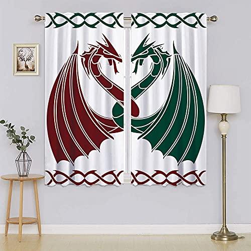 Keltisk dekor samling mörkläggningsgardiner för fönster, värmeisolerande gardin dekorativ för sovrum B 153 cm x L 63 tum, grön röd
