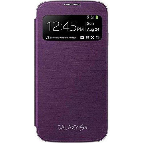 Samsung S-View - Funda para móvil Galaxy S4 (Pantalla frontal, teclas laterales para activar la pantalla), morado
