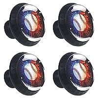 キャビネットノブ4個クリスタルガラスプルハンドル野球ボールカラースプラッシュ 家具のドアまたは引き出しを開く場合