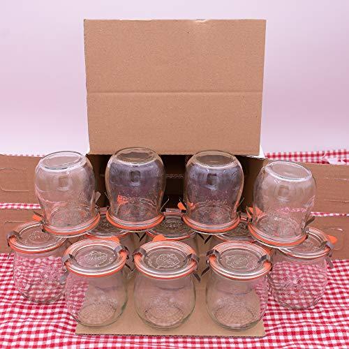 WECK 220 ml Einmachglas Tulpen-Form - verwendbar als Marmeladenglas, Vorratsglas, Konservenglas 12 Stück