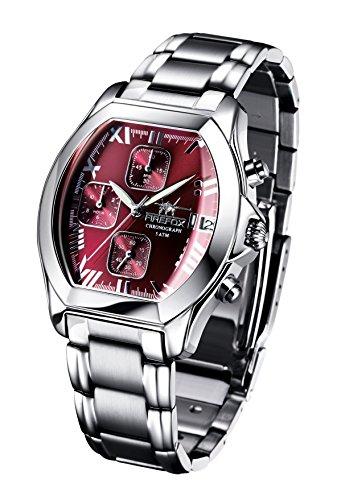 FIREFOX NEBUKADNEZAR FFS175-105 Sunray Bordeaux rot Damenuhr Armbanduhr Chronograph massiv Edelstahl Sicherheitsfaltschließe wasserdicht Laufwerk Miyota Werk OS10