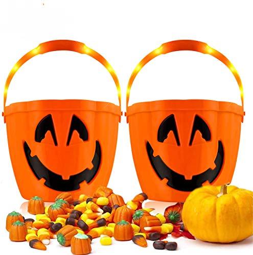 Halloween Kürbis Candy Bucket - 3 Beleuchtungs Modi LED Flash Kürbis Eimer, Jack o 'Laterne Glühende Süßigkeiten Eimer, Süßes oder Saures Plastikkorb für Kinder - Große Party Dekor Gefälligkeiten