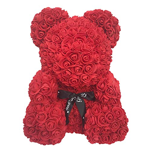 Fancy Supplies 16″ Teddy Bear Forever Roses Artificial Rose Anniversary Christmas Valentines Gift Red Pink White Blue (16″, One Bear + Acrylic Box) (Red) Silk Flower Arrangements
