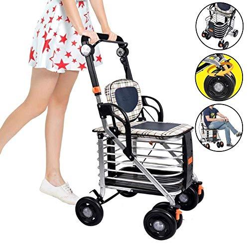 GHzzY Shopping Trolleys - Aluminium Opvouwbaar 4 Wiel Winkelwagen - Ouderen Walker met Dubbele Remmen - Een Walker met Wielstoelen