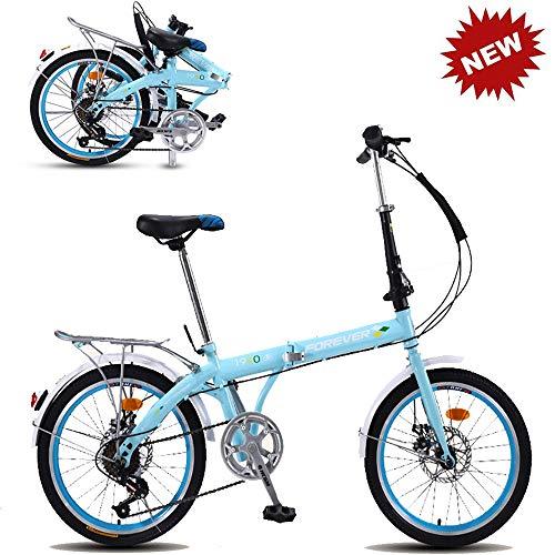 CHAIJY Bicicleta de montaña Plegable para Estudiantes Bicicleta de Bicicleta Plegable Bicicleta Singlespeed Frenos de Doble Disco Viajeros urbanos Ligeros para Hombres y Mujeres,Bule