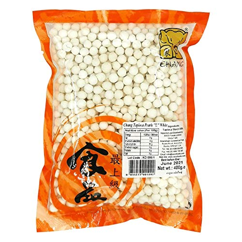 Chang Brand Tapioca Pearls - Perlas (grande, 400 g), color blanco