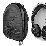 Geekria UltraShell Case for Master & Dynamics M&D MH40, MW65, MW60, MW50+ Headphones, Replacement Protective Hard Shell Travel Carrying Bag with Cable Storage (Black Crocodile Pattern)