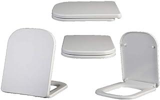 Mtg Abattant de WC carré Universel antibactérien urée-formaldéhyde Montage Facile à Installer Blanc 45~51 37 cm