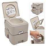JAXPETY 5.3 Gallon 20L Flush Porta Potti Outdoor Indoor Travel Camping Portable Toilet for Car, Boat, Caravan, Campsite, Hospital (Warm Gray)