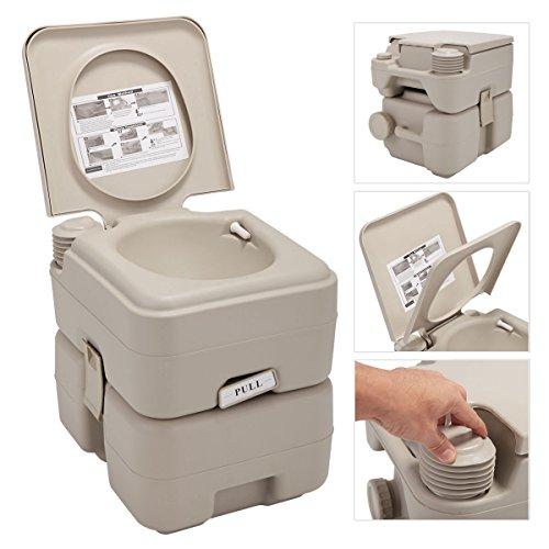 JAXPETY 5 Gallon 20L Flush Porta Potti Outdoor Indoor Travel Camping Portable Toilet for Car, Boat, Caravan, Campsite, Hospital (20L Warm Gray)