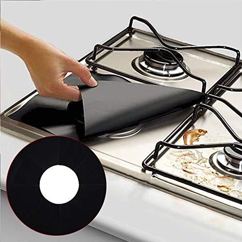 Protectores de gas para estufa, 6 unidades, reutilizables, de fibra de vidrio, protector de estufa de gas, antiadherente, para cocina, herramienta de cocina