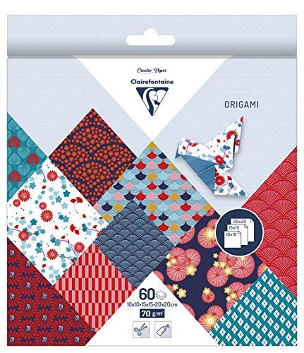 Clairefontaine 95347C Pack mit 60 Bögen Origamipapier (mit 3 Formaten, 10 x 10 cm, 15 x 15 cm, 20 x 20 cm, 70 g, Hanayo) 1 Pack