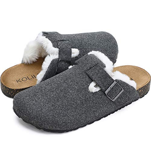 KOLILI Mules for Women Slip on Cork Clogs House Shoes for Indoor amp Outdoor Grey Cork 67 US