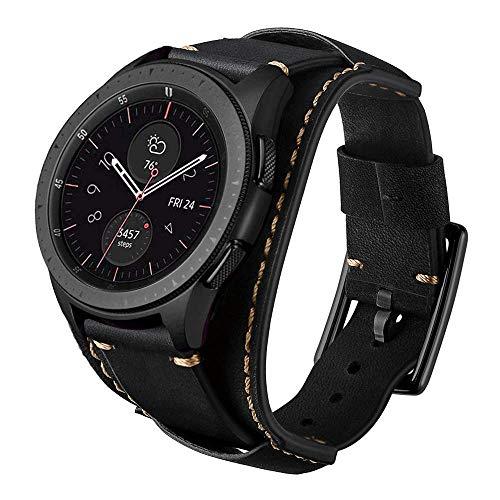 Leotop Kompatibel mit Samsung Galaxy Watch 46mm/Gear S3 Frontier/Classic Armband,22mm Echtes Leder Uhrenarmband Cuff Ersatz Armbänder mit Edelstahlschließe für Männer Frauen (22mm, Schwarz)