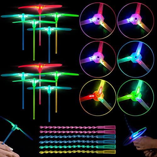 Herefun Favores de Fiesta para Niños, 16 Piezas Helicóptero Vuelo Juguete Volador Luminoso, Juguete Volador Luminoso para Niños, Niñas, Juguete Luminoso Regalos de Cumpleaños para Fiestas Favores