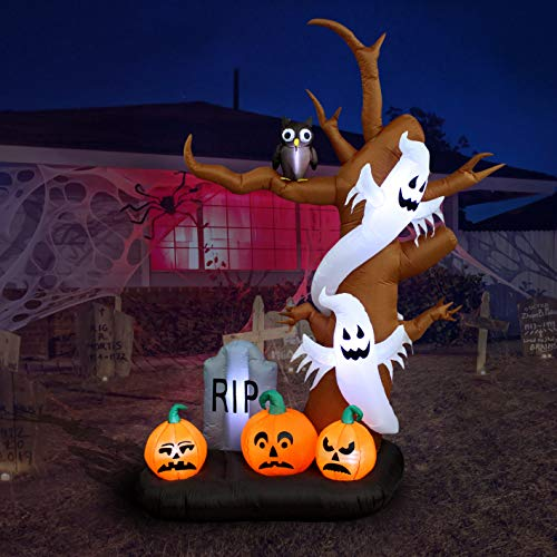 Air Blown Tree with Ghosts, Pumpkins, Owl and Tombstone Halloween Decor