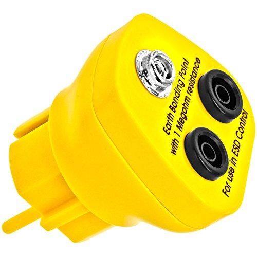 Minadax® Erdungsbaustein - EBP - Innovativer ESD-Schutz - Antistatik-Schutzkontaktstecker - Deutscher Steckdosen-Standard - 1 x Druckknopfbuchse und 2 x Bananenstecker-Buchse - 1 Megaohm Widerstand